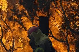 Bombero entre las llamas ( fuente: La Vanguardia)