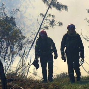 Dos bomberos en plena faena de extinción