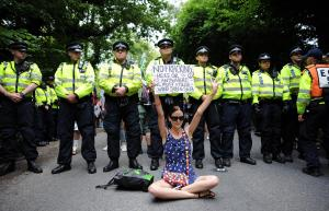 Protesta contra Fracking en Balcombe, West Sussex en 2013