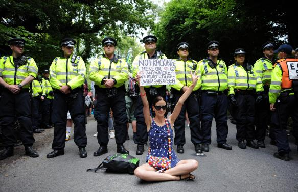 Protesta contra Fracking en Balcombe, West Sussex, en 2013