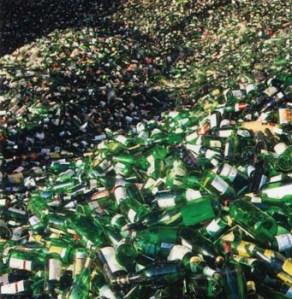 Reciclaje de vidrio verde